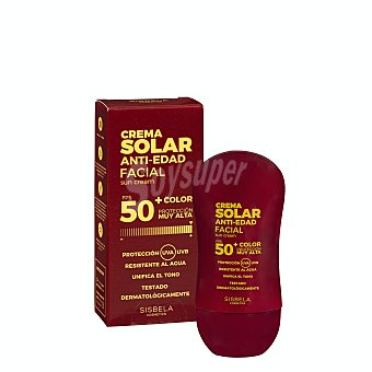 Deliplus Protector solar facial fps 50+ antiedad con color (crema) Botella 50 ml