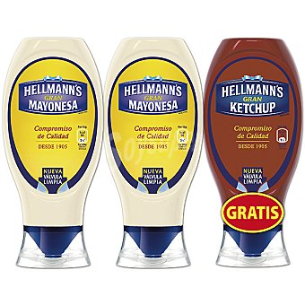 Hellmann's Mayonesa bocabajo Pack 2 envases 430 ml