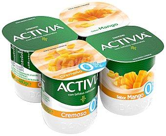 Activia Danone Bífidus cremoso de mango 0% M.G Pack 4 unidades 125 gr