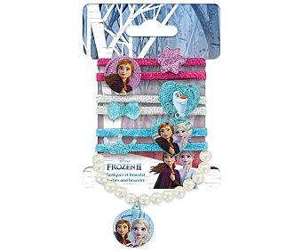 FROZEN 2 Conjunto de 6 gomas eláticas para cabello + 1 brazalete con diseño de los personajes de la película 2