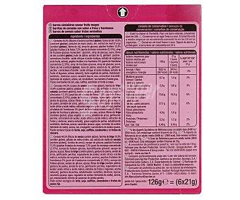 Auchan Barritas de cereales con trozos de frutas rojas Crousty 6 barritas, 126 gramos