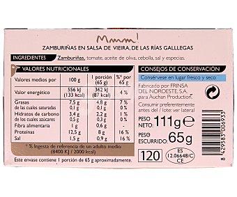 Mmm Auchan Zamburiñas de las Rías Gallegas en Salsa de Vieira Lata 65 Gramos
