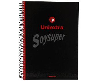 UNI-EXTRA Cuaderno Cuadrícula 4 Milímetros Tapa Extradura Color Negro 1u
