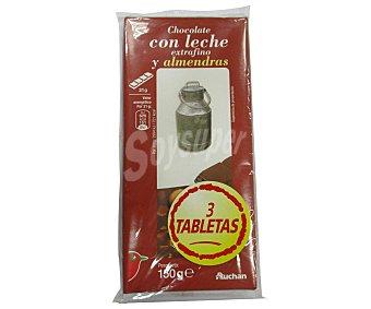 Auchan Chocolate con leche y almendras extrafino 3 unidades de 150 gramos
