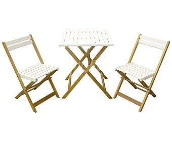 Garden Star Set de mobiliario de balcón modelo Shorea, compuesto por 2 sillas plegables de 80x46x56 y 1 mesa plegable de 71x60x60 centímetros, lacados en blanco y fabricados en madera FSC mixta 851561 1 unidad