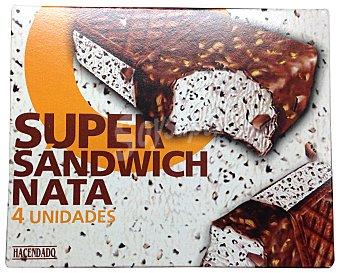 HACENDADO Helado sandwich súper chocolate y nata Caja 4 u
