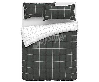 ACTUEL Izac Juego de funda para nórdico y funda de almohada 100% algodón con diseño de cuadros color gris oscuro, cama 90cm. actuel.