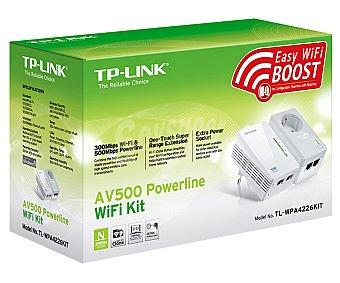 TP-LINK Kit Extensor Powerline wifi TL-WPA4226KIT, AV500, 300Mbps, 2 puertos Ethernet, enchufe extra AV500, 300Mbps, 2 puertos Ethernet, enchufe extra
