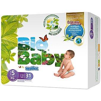 MOLTEX Bio Baby pañales unisex talla 5 (de 12 a 16 kg) ecológicos  envase 31 unidad
