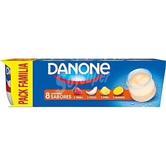 DANONE Yogur sabores 2 fresa+ 2 coco + 2 piña + 2 mango  8 unidades de 120 g