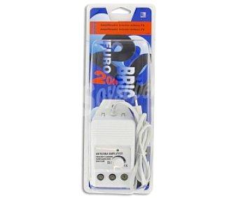 EUROBRIC 2000 Amplificador de señal de antena 1 entrada y 2 salidas, hasta 20 dB de ganancia