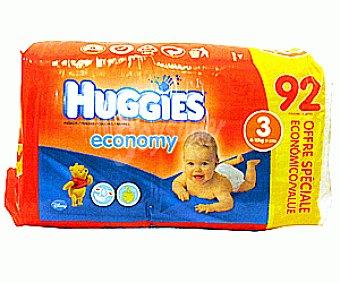 HUGGIES ECONOMY Pañales Jumbo Talla 3 (4 a 10 Kilogramos) 92u