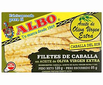 Albo Filetes de caballa del sur en aceite oliva virgen Lata 85 g neto escurrido