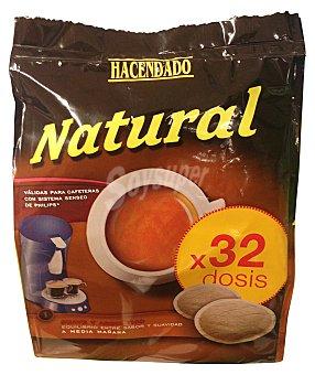 Hacendado Cafe capsula (compatible con cafetera sistema senseo) natural Paquete de 32 uds