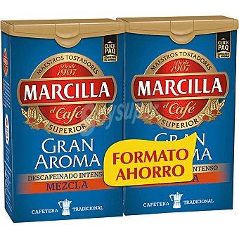 Marcilla Café molido descafeinado mezcla intenso Gran Aroma 2x200g (paquete 400 g)