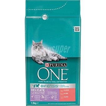 One Purina Alimento especial digestión sensible para gatos con pavo y arroz Bolsa de 1,5 kg