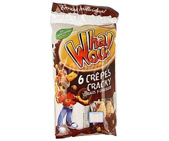 WHAWOU! Crepes crujientes con cereales y chocolate 6 unidades, 190 gramos