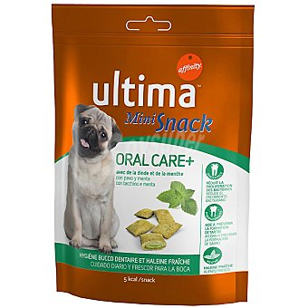 Ultima Affinity Mini Snack Oral Care para el cuidado de la higiene oral para perros con pavo y menta envase 80 g Envase 80 g