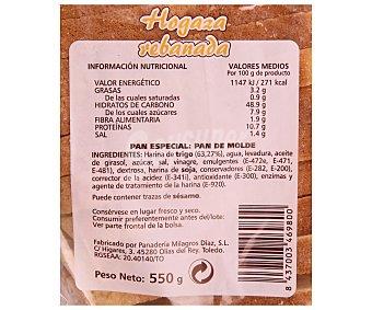 PAN DE MOLDE Hogaza rebanada 500 gramos
