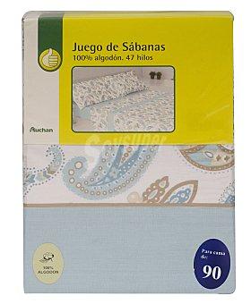 Productos Económicos Alcampo Juego de sábanas estampadas,100% algodón, color turquesa para cama de 90 centímetros, modelo Ameba 1 unidad