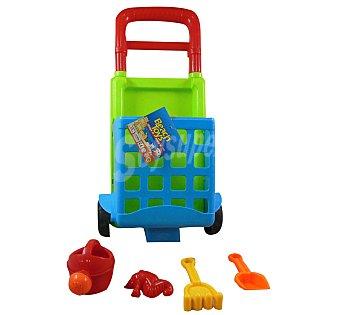 EURASPA Conjunto de juguetes de playa (cubo, pala, rastrillo...) y un carrito para transportalos y guardarlos 1 unidad