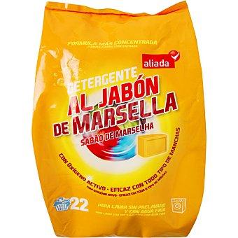 Aliada Detergente máquina polvo al jabón de Marsella con oxígeno activo Bolsa 22 cacitos