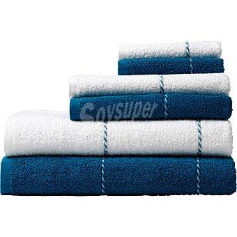 Casactual Juego de 6 toallas en color blanco y azul