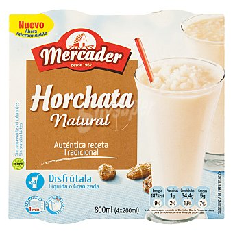 MERCADER Horchata natural Pack 4x200 ml