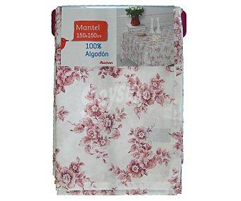 AUCHAN Mantel estampado floral color rosa, 150x150 centímetros 1 Unidad