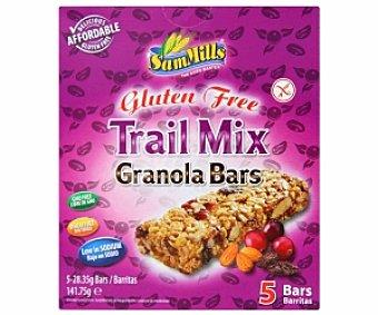 Sam Mills Barritas cereales de mix frutos secos Sin Gluten 141 Gramos