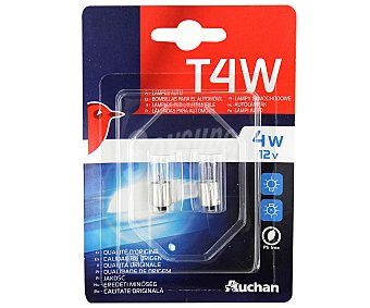 Auchan Bombillas convencionales para automóvil modelo T4, potencia: 4W 2 unidades