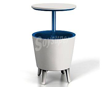 KEETER Mesa nevera con diseño innovador y tapa retractil, combinando 3 artículos en 1: mesa de café, mueble bar e hielera, medidas abierta: 49.5x49.5x84.5 y cerrada: 49.5x48.5x57 centímetros 1 unidad