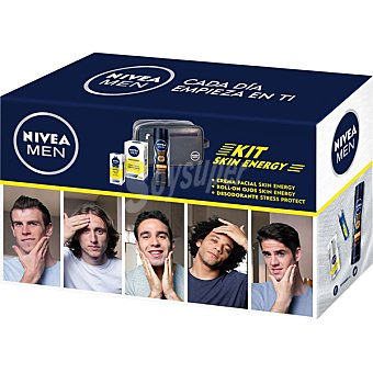 Nivea For Men kit Skin Energy con crema facial hidratante Q-10 + roll-on ojos 10 ml + desodorante Stress Protect spray 150 ml + neceser frasco 50 ml