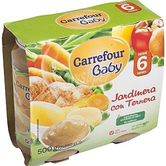 Carrefour Baby Tarrito de jardinera con ternera Pack 2x250 g