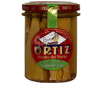 Conservas Ortiz Bonito del norte en aceite de oliva virgen extra Frasco 140 g neto escurrido