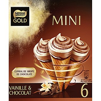 NESTLE GOLD Mini vainilla y chocolate con espiral de chocolate  6 unidades (480 ml)