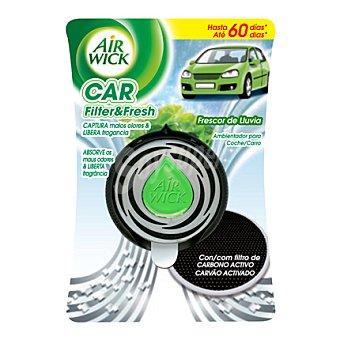 Air Wick Ambientador de coche frescor de lluvia aparato + recambio con filtro de carbono activo 1 ud