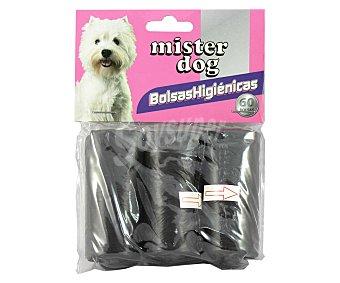 MISTER DOG Bolsas higiénicas Pack de 3 rollos de 20 unidades