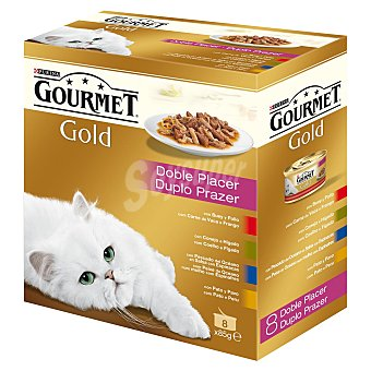Gourmet Purina Comida completa para gatos doble placer (Buey-pollo/Conejo-hígado/Pescado/Pato-pavo) Gold 8 latas de 85 g