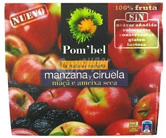 POM'BEL Puré de manzana-ciruela, Sin: azúcar añadido, colorantes, conservantes, gluten ni lactosa Pack 4 Unidades de 100 Gramos