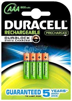 Duracell Pilas recargables AAA,HR03, listas para uso Pack de 4 Unidades