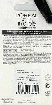 L'Oréal Fondo de Maquillaje Perfeccionador Continuo , Fluido Infalible N 140 1 Unidad