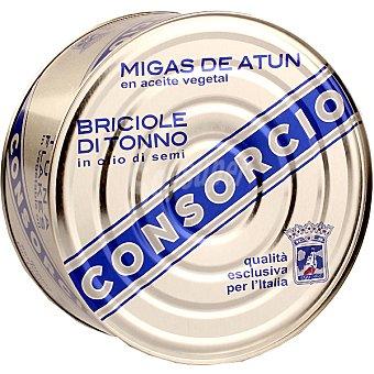 Consorcio Migas de atun claro en aceite vegetal Lata 695 g neto escurrido