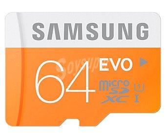 Samsung Tarjeta de memoria EVO microsdhc 64GB, alta velocidad, 80MB/S clase 10.