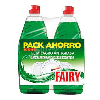 Fairy Lavavajillas mano regular Pack 2x750 ml