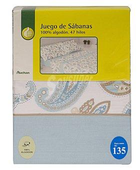 Productos Económicos Alcampo Juego de sábanas estampadas,100% algodón, color turquesa para cama de 135 centímetros, modelo Ameba 1 unidad