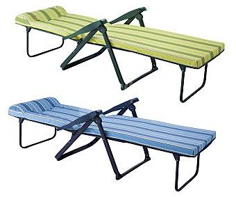 Auchan Tumbona-cama con 6 posiciones para camping y playa. Fabricada en aluminio, tubo oval de 4x2 centímetros, con asiento acolchado de 5 centímetros, reposapies y y cabezal anatómico 1 unidad