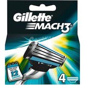 Gillette Mach3 Cargador de afeitar Pack 4 unid