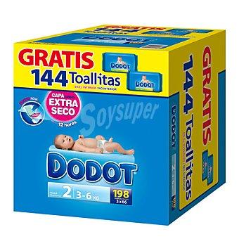 Dodot Pañal talla 2 (3-6 kg) + regalo 144 toallitas 198 unidades