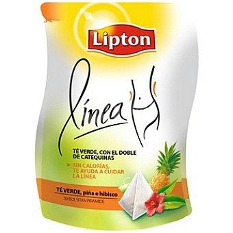 Lipton Línea té verde con piña e hibisco sin calorías 20 bolsitas Paquete 46 g